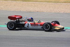 Adrian Newey at the wheel of his Lotus 49 at the British Grand Prix 2018
